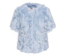 Faux Pearl-embellished Faux Fur Jacket