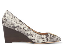 Raleigh Snake-effect Leather Wedge Pumps Schiefer