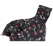 One-shoulder Ruffled Floral-print Bikini Top
