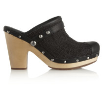 Jolene Leather-trimmed Bouclé Mules Schwarz