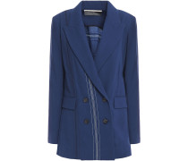 Cutout Embroidered Wool-crepe Blazer