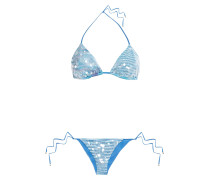 Mare Sequin-embellished Crochet-knit Triangle Bikini