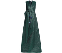 Woman Embellished Knotted Metallic Jacquard Gown Emerald