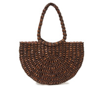 Woman Marion Beaded Wood Tote Chocolate