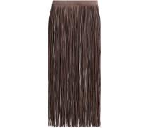 Fringed Leather Midi Skirt
