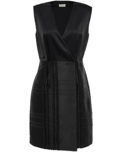 Wrap-effect Crepe-satin Twill Dress Black