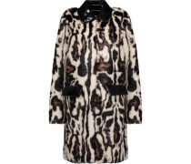 Glossed faux leather-trimmed leopard-print faux fur coat