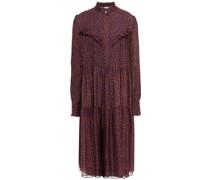 Kleid aus Seidenchiffon mit Floralem Print und Rüschenbesatz