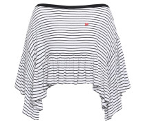 Cropped Striped Ribbed Modal-blend Jersey Top