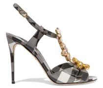 Sandalo Vernice Embellished Patent-leather Sandals Schwarz