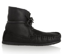 étoile Eve Shearling-lined Leather Moccasin Boots Schwarz
