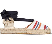 Lace-up striped canvas espadrilles