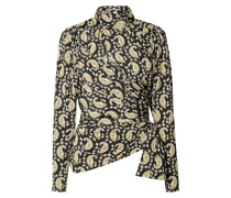Cutout Ruched Paisley-print Stretch-jersey Turtleneck Top