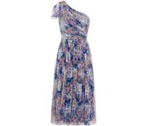 Gerafftes Kleid aus Georgette mit Asymmetrischer Schulterpartie
