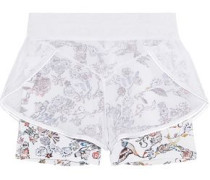 Inca mesh and printed stretch-jersey shorts