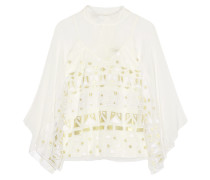 Sura Embroidered Tulle And Silk-blend Chiffon Top Elfenbein