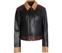 Color-block leather jacket