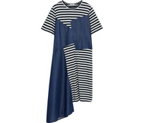 Asymmetric Striped Cotton-jersey And Tencel-chambray Dress