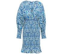 Anya Shirred Floral-print Cotton Mini Dress