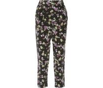 Hadley Floral-print Silk Straight-leg Pants Schwarz