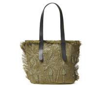 Barry Medium Embroidered Raffia And Jute Tote