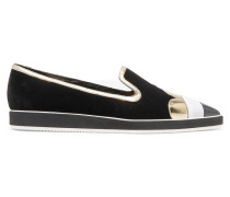 Polly Petal Patent Leather-trimmed Metallic Velvet Slip-on Sneakers Mehrfarbig