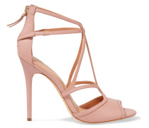 Cutout Leather Sandals Pastellrosa