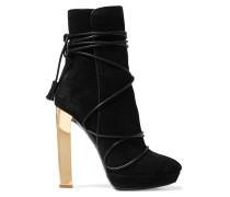 Tasseled Suede Ankle Boots Schwarz