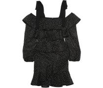 Farina Tiered Embroidered Lace Mini Dress Schwarz