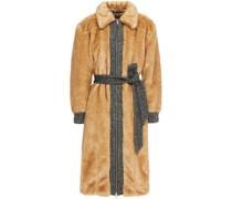 Herringbone Jacquard-trimmed Faux Fur Coat