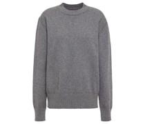 Pullover aus Einer Melierten Baumwoll-wollmischung mit Vinylbesatz