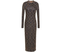 Sequined Ribbed-knit Midi Dress