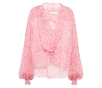 Woman Twist-front Draped Floral-print Silk-voile Blouse Pink