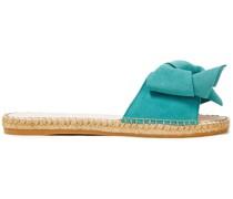 Hamptons Pantoletten aus Veloursleder mit Schleife