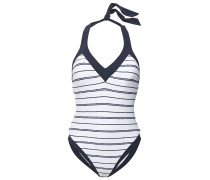 Woman Striped Halterneck Swimsuit White
