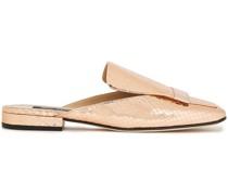 Embellished Metallic Snake-effect Leather Slippers