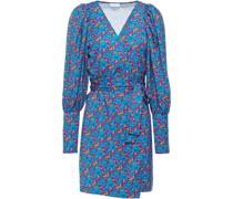 Frankie Gathered Floral-print Satin Mini Wrap Dress