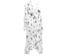 Woman Ruffled Floral-print Silk-satin Midi Wrap Dress White