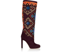 Vicky suede and velvet knee boots
