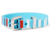 Silver-tone Rubber Bracelet Hellblau