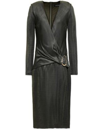 Wrap-effect Knitted Dress Grey Green