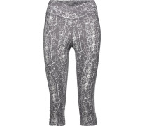 Candace Cropped Printed Stretch-cotton Leggings Anthrazit