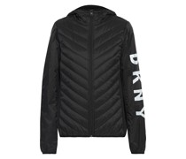 Fleece-paneled Logo-print Quilted Shell Hooded Jacket