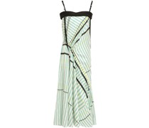 Woman Ruched Embellished Striped Twill And Crepe Midi Dress Mint