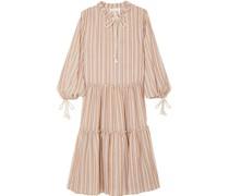 Bow-detailed Striped Gauze Midi Dress