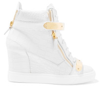 Embellished Croc-effect Leather High-top Wedge Sneakers Weiß