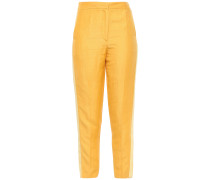 Cropped Linen-blend Shantung Tapered Pants