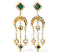 24-karat gold-plated, Swarovski crystal and faux pearl clip earrings