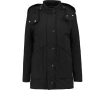 Padded Cotton-blend Hooded Coat Schwarz