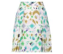 Lana Pleated Printed Stretch-cotton Poplin Mini Skirt Jade